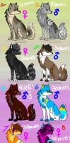 Adoptables Set 1 by BlueTheWolfeh
