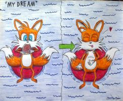 Tails eating steak (My dream) by tails4evr