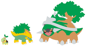 Turtwig, Grotle and Torterra Base by SelenaEde