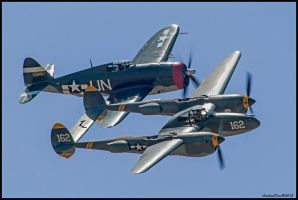 P-38 Lightning and P-47 Thunderbolt by AirshowDave