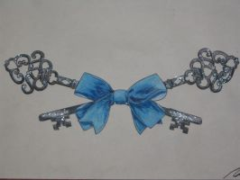 Bow + keys tattoo design by dark-wh1sp3rs