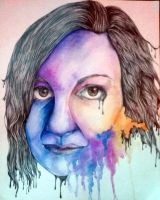 Woman Watercolor and Pencil Portrait by Scooby-Snax