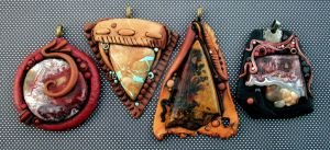 Polymer Clay Pendants Custom Order by MandarinMoon