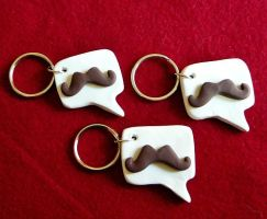 We Say Mustache keychains by stefania-zee