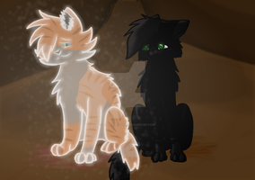 Hollyleaf and Fallenleaves (might re-draw!) by AdogTheCool