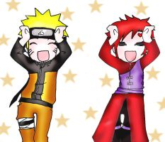 Naruto and Gaara Carameldansen by flamable77