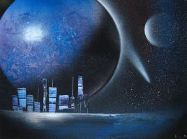 """Space Painting 007 """"Cityscape"""" by Christine-Eige"""