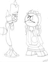 Lumiere and Cogsworth -request by Corupted-Data