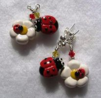 Ladybug Flower Earrings by MandaBeads