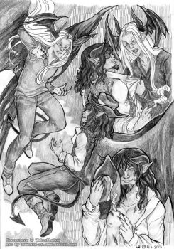 Jarious and Verin Sketchpage by Feathered-Leather