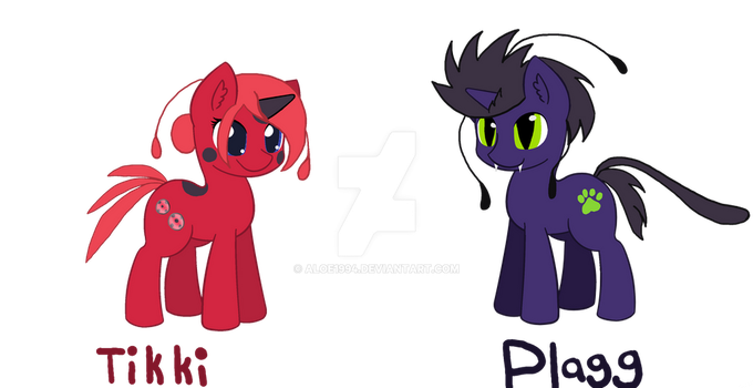Tikki And Plagg Ponies open-Ota or dta  by aloe1994
