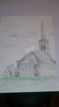 A Church Drawing by LilPhotoGal