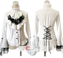 Frills Stand Collar Cotton Lolita Shirt Blouse by wendywei2012