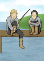 Little Thor and Loki fishing by GoreChick