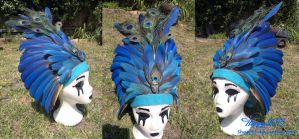 Magic Macaw Feather Crystal Skull Head Dress by 5Happy5