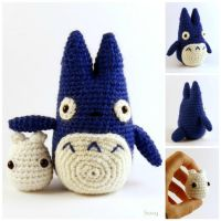 Totoro Blu and White by SuniMam
