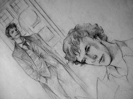 Sherlock and Doctor sketch by ymymy