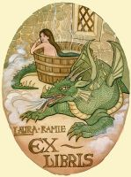Lady and Dragon bookplate by LaurasMuse