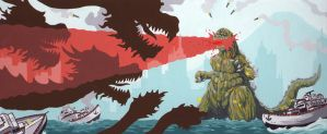 Godzilla in gouache by aaronjohngregory