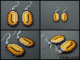 Handmade Seed Bead Coin Earrings by Pixelosis