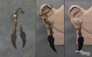 Steampunk winged ear wrap with post earring by bodaszilvia