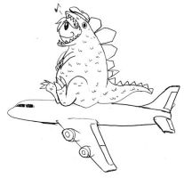 D-Zilla on plane by diana-hnd