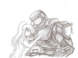 Master Cheif and Samus by zagchan