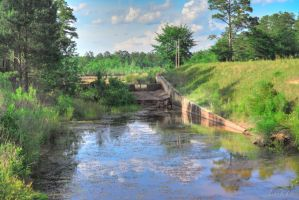 Fort Gordon Lake Overflow spillway by Natures-Studio