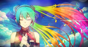 Rainbow of Music - Hatsune Miku by 34Kai