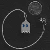Pacman Ghost Silver Necklace by iceSylum