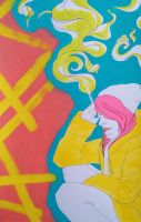 Pink Haired Woman with Cigarette by kontroversee