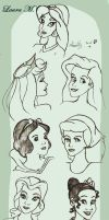 Disney Princesses - doodles by Sweet-Amy-Leah