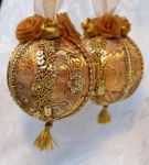 Matching Gold Brocade Victorian Ornaments by DaraGallery