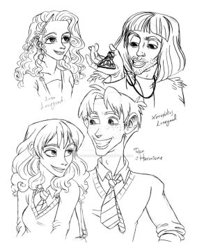 HP Ron and Hermione by DemonCartoonist