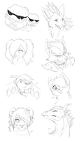 CP: Headshot Sketches (updated) by DragginCat