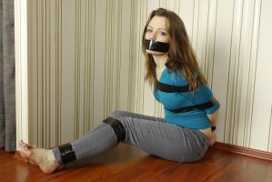 Anni taped tight and got gagged by kingnomis3