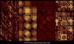Golden Red Retro Patterns by WebTreatsETC