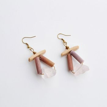 Pink Quartz and Sea Urchin Earrings by SquirrelzUpcycling