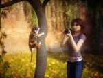 Taking photo of kitty climbing tree by pnn32