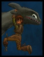 Scene from HTTYD2: Hiccup/Toothless Playfight by inhonoredglory