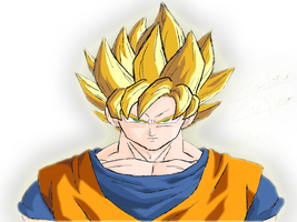 SSJ Goku Colored by inzanity-arts
