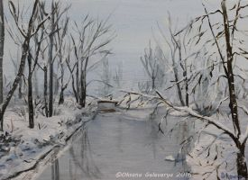 Winter River - oil by Oksana007