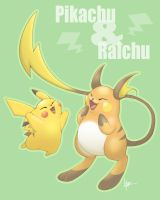 Pikachu and Raichu by Nyaasu