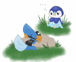 Bubbles and the Mudkip Master by mousie242