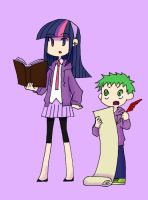 Human Twilight and Spike by raito-toko