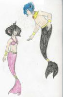 Amelia and Zel Merfolk by seraM