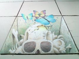 3d skull in my floor by vioem
