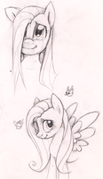 Sketch 7 - Pinkamena and Fluttershy by Imalou