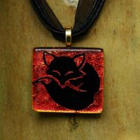Sleepy Fox Fused Glass Pendant by FusedElegance