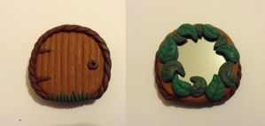 Clay fairy door mini pocket mirror by Stefimoose